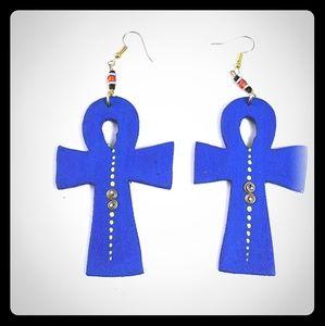 Jewelry - Oversized Wooden Ankh Earrings - Blue